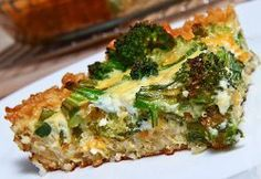 Broccoli and Cheddar Quiche with a Brown Rice Crust / For low FODMAP  version, lactose free milk, less broccoli and just green part of onion