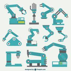 Colección brazos robóticos Vector Gratis