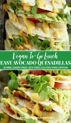 "This lunch is so easy, it will have you saying ""Yo quiero avocado quesadillas"" faster than a talking chihuahua! A snap to pull together, plus totally customizable, you can have this lunch ready to go in only a few short minutes. Perfect for weekday lunches or a lazy dinner. #avocadoquesadilla #avocadoquesadillarecipes #avocadoquesadillavegan #avocadoquesadillacheese #avocadoquesadillahealthy #bohemianvegankitchen Quick Healthy Lunch, Quick Vegan Meals, Vegan Dinner Recipes, Vegan Dinners, Vegan Recipes Easy, Easy Meals, Quesadillas, Sin Gluten, Plant Based Diet"