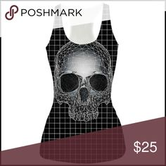 Digital Skull Tank Top BNWOT - polyester blend - shiny stretchy material - no size tag, fits a small-medium // tags: creep creepy goth gothic creeper dark alternative prints print skulls face 3D close skeleton bones skeletons black white line lines computer awesome wicked witchy badass witch rebel punky punk rock psychobilly scary halloween nwot new unique unisex sm md s m rad neat amazing incredible shine tops shirt shirts tanks Tops Tank Tops
