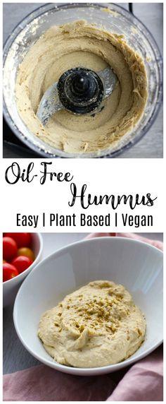 This easy oil free hummus recipe is delicious with crunchy veggies, toasted pita, or falafel. It& so smooth and creamy, you& never guess there is no added oil! Healthy Vegan Snacks, Vegan Appetizers, Easy Healthy Recipes, Whole Food Recipes, Vegan Recipes, Snack Recipes, Cooking Recipes, Healthy Cooking, Healthy Hummus Recipe