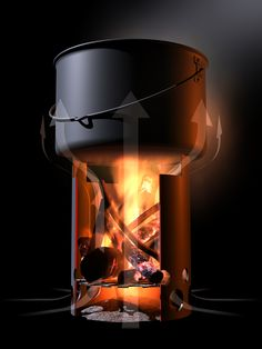 Hobo stove convection ~ A comprehensive illustration of the workings of a hobo stove. (Source: Wikimedia)  For more information: http://en.wikipedia.org/wiki/Hobo_stove