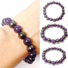 Gemstone Bracelet - Amethyst Bracelet - Hematite Bracelet - Magnetic Hematite Bracelet - Magnetic Bracelet - Amethyst Gemstone Bracelet by OurUniverseShop on Etsy