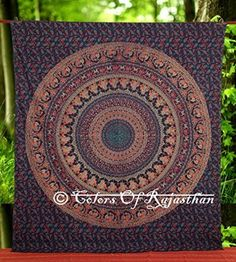 Multi-colored Elephant Mandala Tapestry Indian Wall Hanging, Bedsheet, Coverlet Picnic Beach Sheet , Superior Quality Hippie Wall Tapestry or Bedspread in Organic Cotton 90 x 85 Inches
