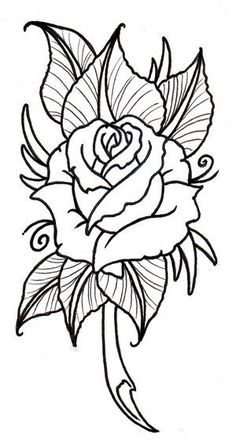 Best Photos of Rose Outline Stencil - Rose Drawing Tattoo Stencil . Easy Flower Drawings, Easy Drawings, Drawing Flowers, Painting Flowers, Neo Traditional Roses, Traditional Tattoo, Rose Drawing Simple, Flower Outline, Rose Outline Drawing
