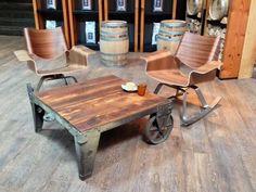 Repurposed industrial furniture.