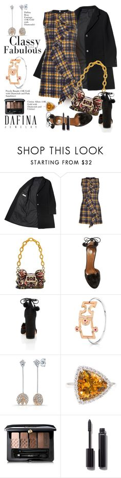 """""""DafinaJewerly.com: Classy and Fabulous."""" by hamaly ❤ liked on Polyvore featuring MSGM, Burberry, Aquazzura, Guerlain, Chanel, ootd, jewerlry and dafinajewerly"""