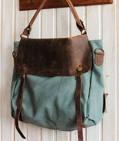 Leather Canvas Bag  Leather Briefcase  Tote  Bag  by DuDuLeather, $57.97