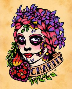 Day of the Dead Tattoo Prints FAITH HOPE and by illustratedink