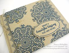 handmade card: Moroccan Nights by Dawn Olchefske ... kraft with Denim inking ... great combo ... luv the linen thread wrap ... Stampin' Up!