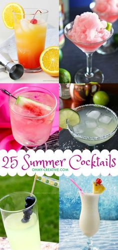25 Fun Summer Cocktails - Oh My Creative - - Cool down summers sizzling days with these 25 Fun Summer Cocktails! Perfect summer drinks for parties, picnics or sipping on the patio! Summer Martinis, Best Summer Cocktails, Summer Drink Recipes, Refreshing Summer Drinks, Fruity Drinks, Alcoholic Drinks, Beverages, Cocktail Recipes, Cocktail Drinks