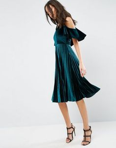 ASOS Cold Shoulder Velvet Pleated Midi Dress