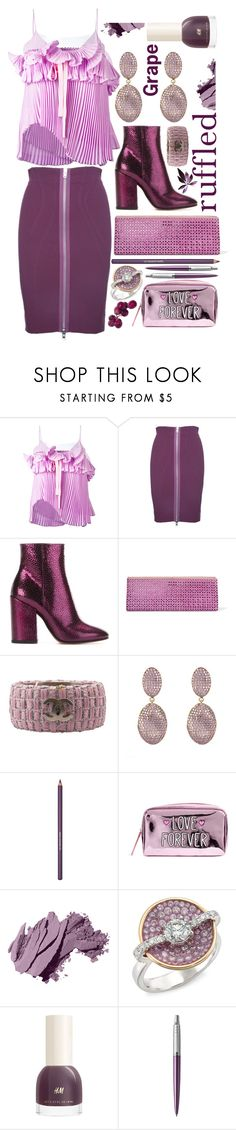 """Not your average ruffle"" by sunnydays4everkh ❤ liked on Polyvore featuring Rochas, Givenchy, Dries Van Noten, Jimmy Choo, Chanel, Bobbi Brown Cosmetics, Plevé and Parker"