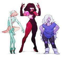 pearl, garnet and amethyst. Steven universe
