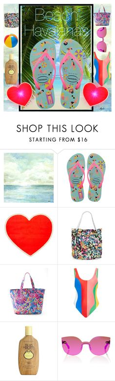 """""""Beach Havaianas"""" by anniecy ❤ liked on Polyvore featuring Havaianas, ban.do, Rip Curl, Lilly Pulitzer, Mara Hoffman, Therapy, Sun Bum, Kalita, Summer and beach"""