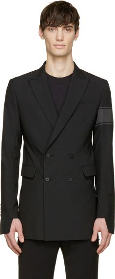D.Gnak by Kang.D Black Double-Breasted Arm Band Blazer