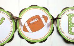Football theme HAPPY BIRTHDAY Banner Football Birthday Party, Football Decorations, Sports Party. $25.50, via Etsy.