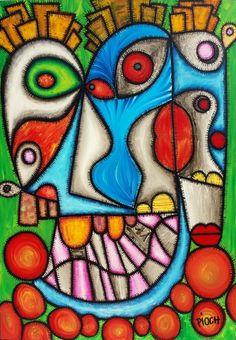 Amour aveugle - Peinture,  81x116 cm ©2011 par Olivier PIOCH -                            Peinture contemporaine, artiste peintre pioch, tableau moderne, art contemporain, visage, tableau coloré, sreet art