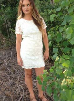 All Over Lace Dress- White www.UsTrendy.com