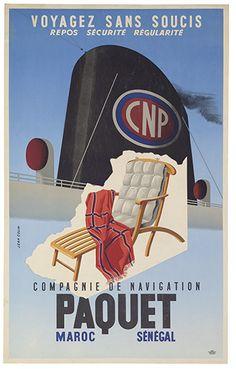 Compagnie de Navigation Paquet - Voyagez sans soucis - Maroc - Sénégal - illustration de Jean Colin -