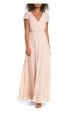 Main Image - Lulus Lace-Up Back Chiffon Gown