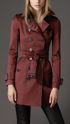 Burberry London Cotton Blend Trench Coat