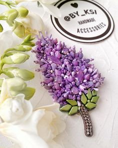 Brooches Handmade, Handmade Beads, Handmade Jewelry, Bead Embroidery Patterns, Ribbon Embroidery, Beaded Necklace Patterns, Beaded Jewelry, Purple Jewelry, Beaded Brooch