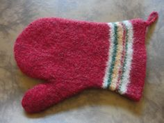 Felted oven mitt.  My first attempt at felting!
