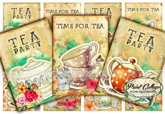 Tea, Tea Cup Digital Collage Sheet Printable Designed Gift Tags and Cards for Scrapbooking Printable Paper for Jewelry Holders Tags Card Tags, Gift Tags, Cards, Tea Cup Image, Scrapbook Paper Crafts, Scrapbooking, Printable Paper, Digital Collage, Collage Sheet