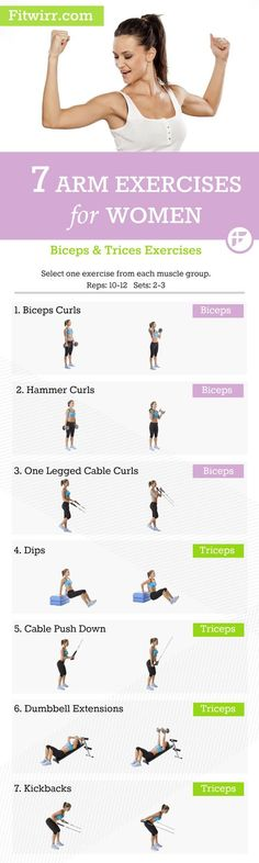 list of 7 best arm workouts for women to get toned and lean arms. Biceps and triceps workouts for women.A list of 7 best arm workouts for women to get toned and lean arms. Biceps and triceps workouts for women. Sixpack Workout, Triceps Workout, Tri Workout, Workout Kettlebell, Barre Workout, Cycling Workout, Boxing Workout, Workout Tips, Workout Plans