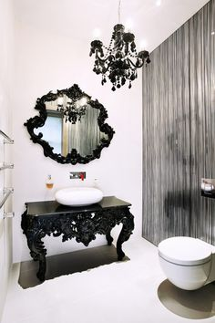 The wildly eclectic Palace Court interior design project by Roselind Wilson Design featuring a red modern kitchen and color splashes throughout. Gothic Bathroom Decor, Victorian Style Bathroom, Goth Home Decor, Black Vanity Bathroom, Powder Room Design, Bathroom Photos, Gothic House, Exterior House Colors, Luxury Interior Design