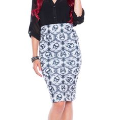 Inked Up pencil skirt with skulls.. awesome! www.attitudeholland.nl #skulls #gothic #classy