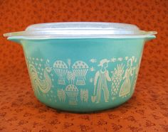 vintage bowl with Amish man and woman design