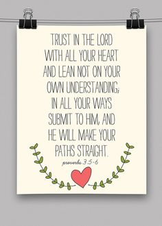 Trust in The Lord with All Your Heart Proverbs - 8.5x11 Print - Christian - Scripture - Verse - God - Jesus. $18.00, via Etsy.
