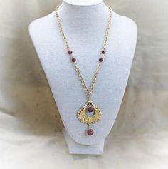 Tribal Teardrop Pendant Necklace In Gold Tone With Maroon #tribalnecklace #teardropnecklace #danglenecklace #bohonecklace #giftforher #shopnow