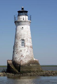 Cockspur Island Lighthouse, Tybee Island, GA My favorite Island just off Savannah. Lighthouse Pictures, Foto Transfer, Beacon Of Light, Tybee Island, Am Meer, Island Lighting, Le Moulin, Belle Photo, Savannah Chat