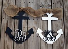 Inscribed Anchor--so cute minus the burlap Crafts To Make, Arts And Crafts, Diy Crafts, Wood Crafts, Craft Projects, Projects To Try, Beach Crafts, Front Door Decor, Nautical Theme