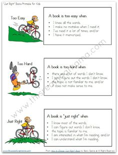 """Free Printable: Helping Kids Identify """"Just Right"""" Books for Themselves"""