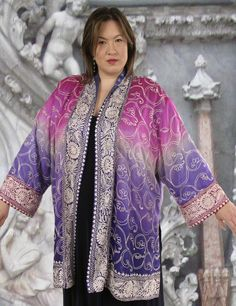 One-of-a-Kind Art Jacket created from a vintage Indian silk sari in size 30/32, fully lined, very lightweight and easy to wear elegance for a special day in your life when only the best will do. #PeggyLutzPlus #plussizefashion #plussizemotherofthebride #plussizespecialoccasion #plussizedesigner #plussizecouture #sarisilk