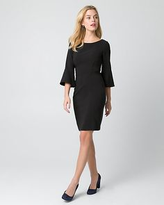 Woven Scoop Neck Dress - A stretch woven dress stands out with a flattering silhouette and dramatic sleeves. Scoop Neck Dress, Mock Neck, Peplum Dress, Bell Sleeves, Dresses For Work, Stylish, My Style, Cocktail Dresses, Outfits