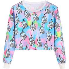 SheIn(sheinside) Multicolor Milk Box Print Crop Sweatshirt ($15) ❤ liked on Polyvore featuring tops, hoodies, sweatshirts, pullover sweatshirt, long sleeve crop top, colorful sweatshirts, print sweatshirt and blue top