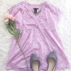 "Pretty Lilac Deep V-Neck Eyelet Top This top has a pretty lilac eyelet lace style, that's very soft & feminine for Spring{actual color of item may vary slightly from pics}  *shoulders:23"" *chest:20"" *waist:16""w/stretch *length:28.5"" *material/care:100% cotton machine wash *fit:true to size  *condition:good no rips/stain   20% off bundles of 3/more items No Trades  NO HOLDS No transactions outside of Poshmark  No lowball offers Apostrophe Tops"