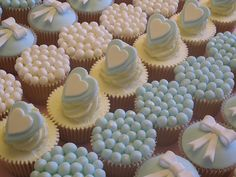 Baby Blue and White Wedding Cupcakes