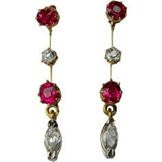 Antique Ruby and Diamond Drop Earrings