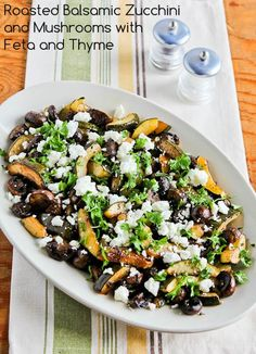 Recipe for Roasted Balsamic Zucchini and Mushrooms with Feta and Thyme; this recipe made history when my brother-in-law had seconds on vegetables! [from KalynsKitchen.com] #LowCarb #GlutenFree #ZucchiniRecipe