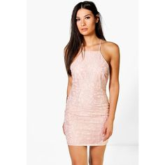 Boohoo Night Frey All Over Lace Cross Back Bodycon Dress ($35) ❤ liked on Polyvore featuring dresses, blush, cocktail party dress, pink lace cocktail dress, pink tuxedo, pink sequin dress and party dresses