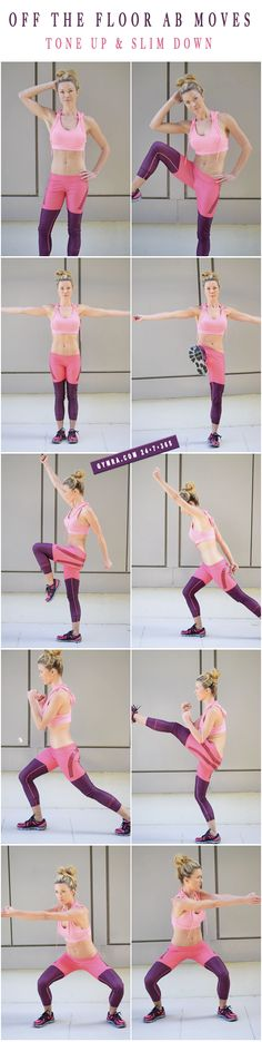 Standing Abs Workout. Do each move in a circuit with little or no break in…