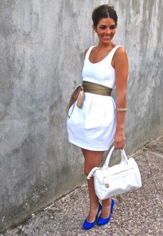 Super cute white dress with low scoop back - with that amazing belt!
