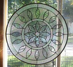 Stained Glass Heirlooms: Large Round Iridized Victorian