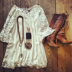 ☮ American Hippie Bohemian Style ~ Boho Vintage Lace Dress and tall Brown Boots